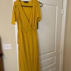 Golden yellow wrap maxi dress